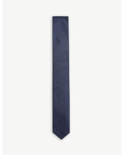 HUGO - Blue Jacquard Pattern Silk Tie for Men - Lyst