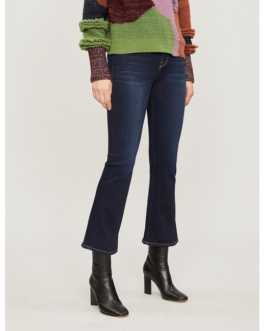 f447639db5c77 Lyst - FRAME Le Crop Mini Boot Mid-rise Flared Jeans in Blue