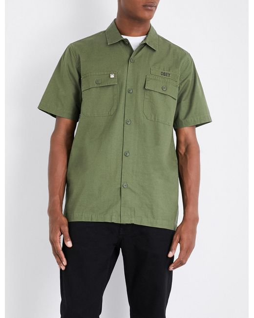 Obey | Green Mission Military Cotton Shirt for Men | Lyst