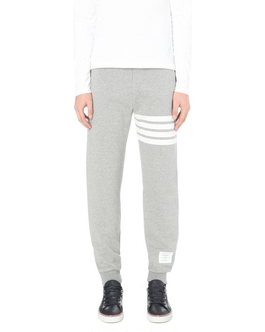Thom Browne - Gray Striped Cotton-jersey jogging Bottoms for Men - Lyst