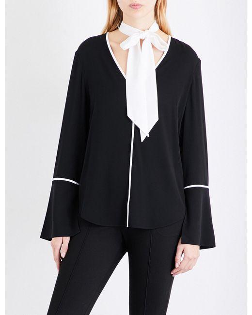 St. John | Black Tie-neck Stretch-silk Shirt | Lyst