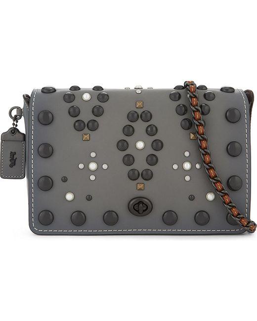 coach gray bag ezak  COACH  Gray Dinky 24 Leather Cross-body Bag  Lyst