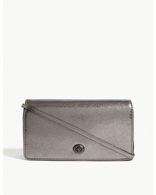 COACH - Dinky Metallic Leather Cross-body Bag - Lyst