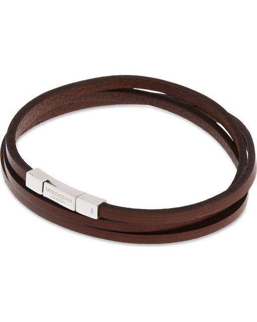Tateossian - Brown Leather Double-wrap Bracelet - Lyst