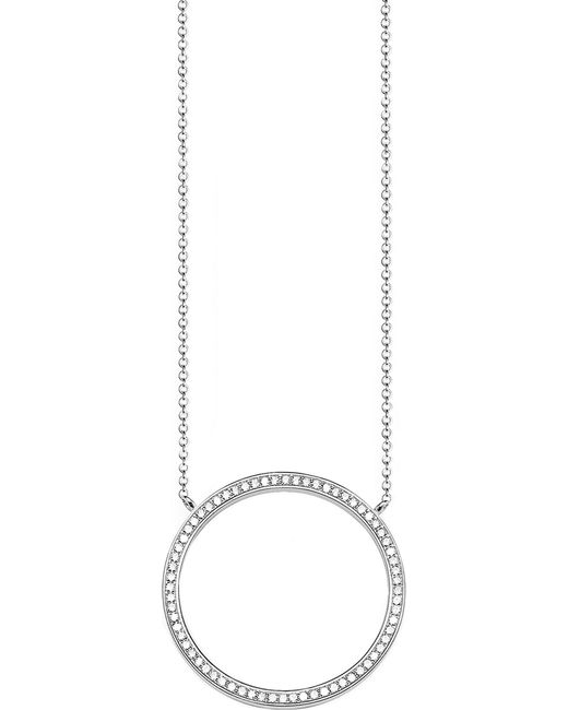Thomas Sabo - Black Classic Circle Large Sterling Silver And Zirconia Necklace - Lyst