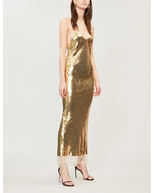 Stella Mccartney Crossover Back Sequin Gown In Metallic Lyst