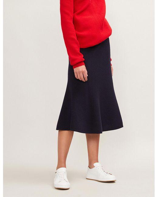 Joseph - Blue Fluted Wool Skirt - Lyst