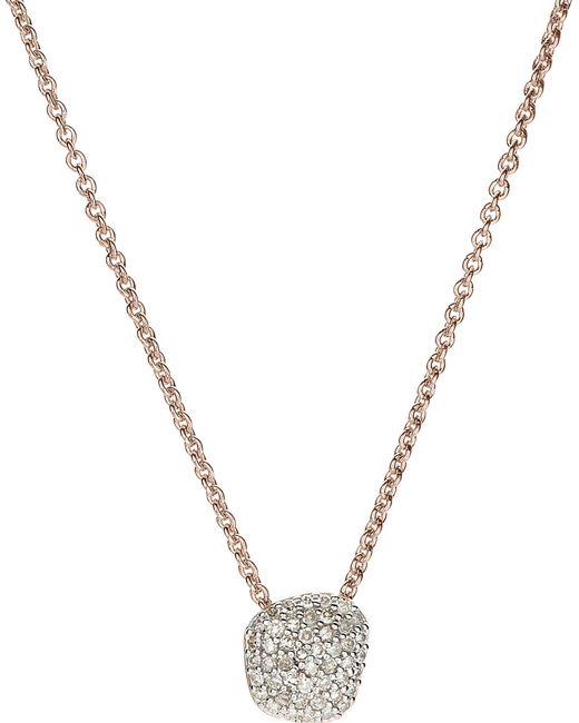 Monica Vinader | Metallic Nura Mini Nugget 18ct Rose-gold Vermeil And Diamond Necklace | Lyst