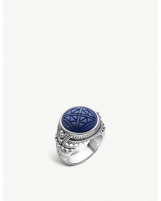 3d6832241742 Thomas Sabo - Metallic Rebel At Heart Engraved Skulls Silver Signal Ring for  Men - Lyst