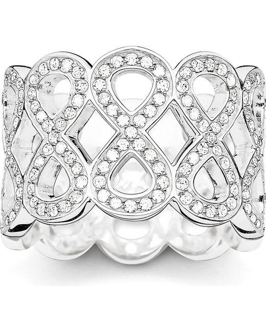 Thomas Sabo | Metallic Eternity Of Love Sterling Silver Pavé Zirconia Chunky Infinity Ring | Lyst