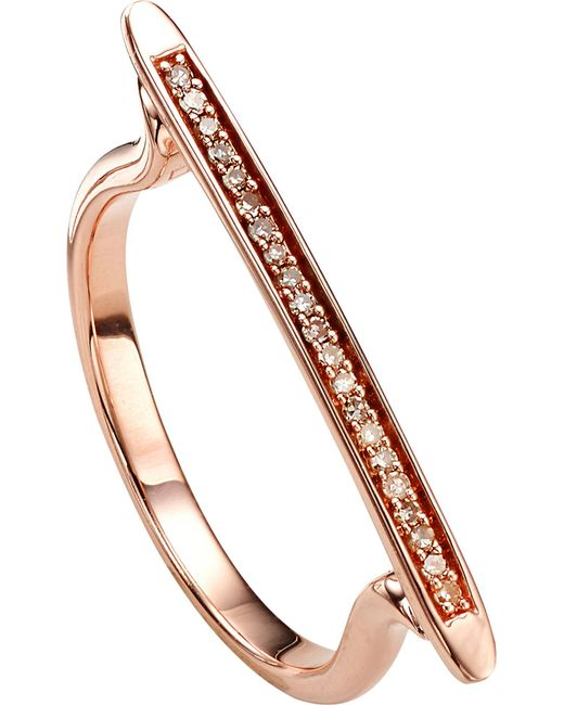 Monica Vinader - Metallic Skinny 18ct Rose Gold-plated Vermeil And Diamond Ring - Lyst
