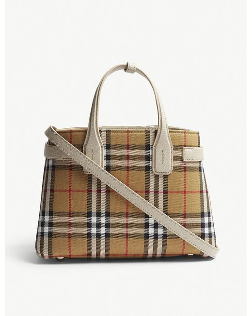 Burberry - Multicolor Brown Check Banner Small Vintage And Leather Tote Bag - Lyst