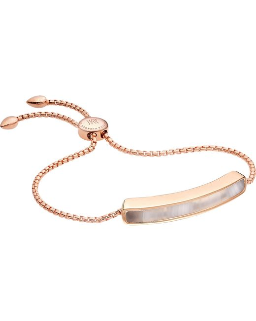 Monica Vinader - Metallic Baja 18ct Rose Gold-plated Vermeil And Grey Agate Bracelet - Lyst