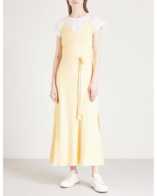 FRAME - Multicolor Self-tie Satin Midi Dress - Lyst