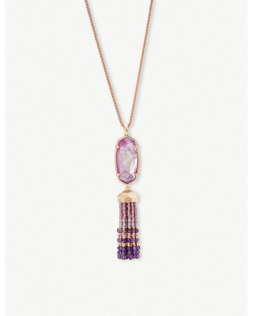 Kendra Scott - Metallic Eva 14ct Rose Gold-plated Lilac Mother Of Pearl Tassel Necklace - Lyst