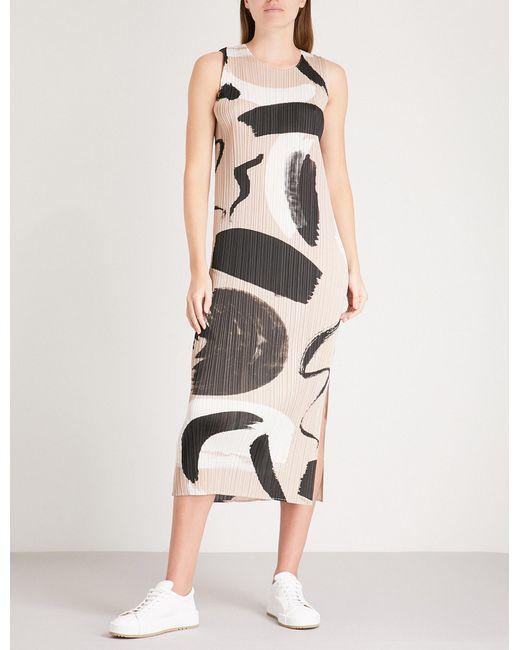 Pleats Please Issey Miyake - Multicolor Brush Stroke Pleated Midi Dress - Lyst
