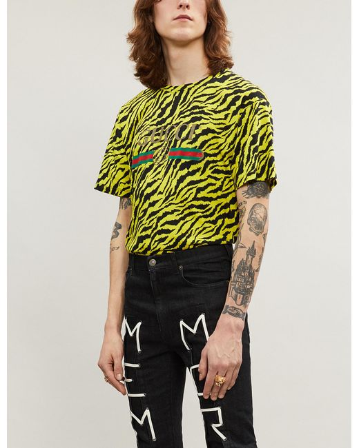 f070749bdfc2 Lyst - Gucci Tiger-print Cotton-jersey T-shirt in Yellow for Men