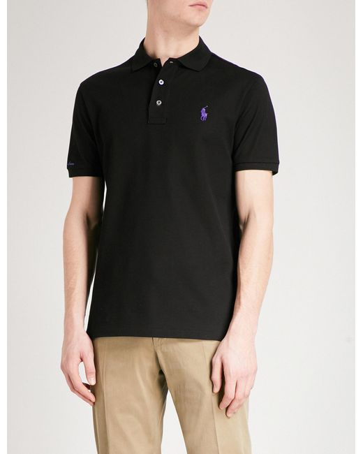 Lyst ralph lauren purple label logo embroidered cotton for Black ralph lauren shirt purple horse