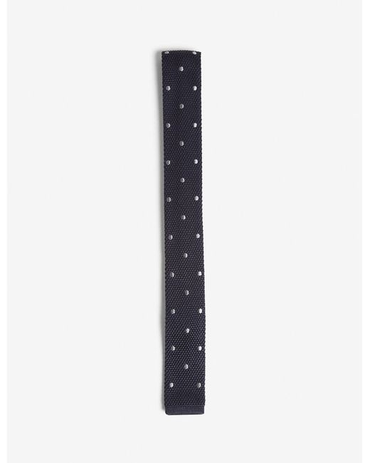Lanvin - Blue Polka-dot Knitted Square-cut Silk Tie for Men - Lyst