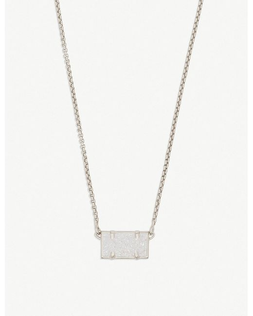 Kendra Scott - Metallic Pattie Rhodium-plated And Iridescent Drusy Pendant Necklace - Lyst