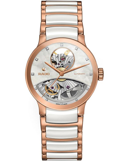 Rado - Metallic R30248902 Centrix Rose Gold And Mother-of-pearl Open Heart Watch - Lyst