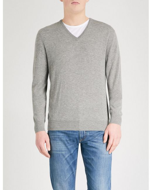 Ralph Lauren Purple Label - Gray V-neck Cashmere Jumper for Men - Lyst