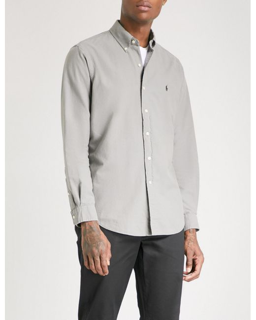 54c9bff64 Polo Ralph Lauren - Gray Logo-embroidered Classic-fit Cotton Shirt for Men -
