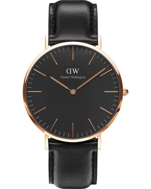 Daniel Wellington - Black Classic Sheffield Rose Gold Watch - Lyst