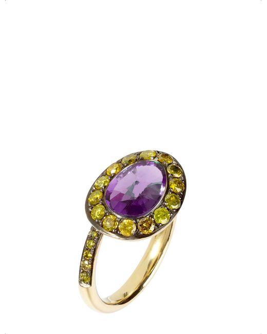 Annoushka - Metallic Dusty Diamonds 18ct Yellow-gold Amethyst And Diamond Side Ring - Lyst