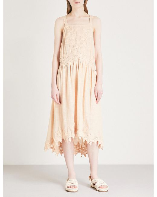 Free People - Pink Embroidered Cotton Dress - Lyst