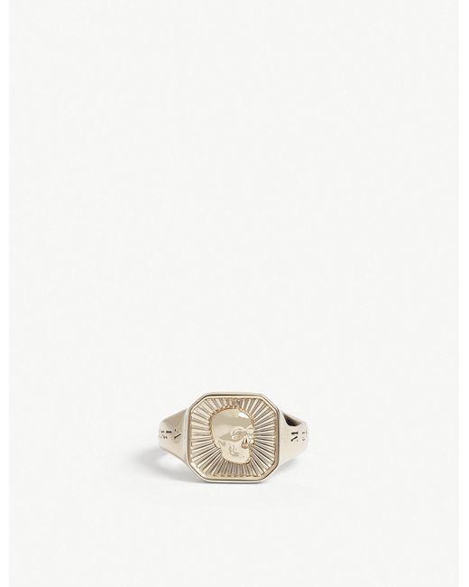 Alexander McQueen - Metallic Skull Motif Signet Ring for Men - Lyst