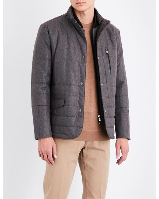Corneliani | Brown Tonal-pattern Technical Quilted Jacket for Men | Lyst