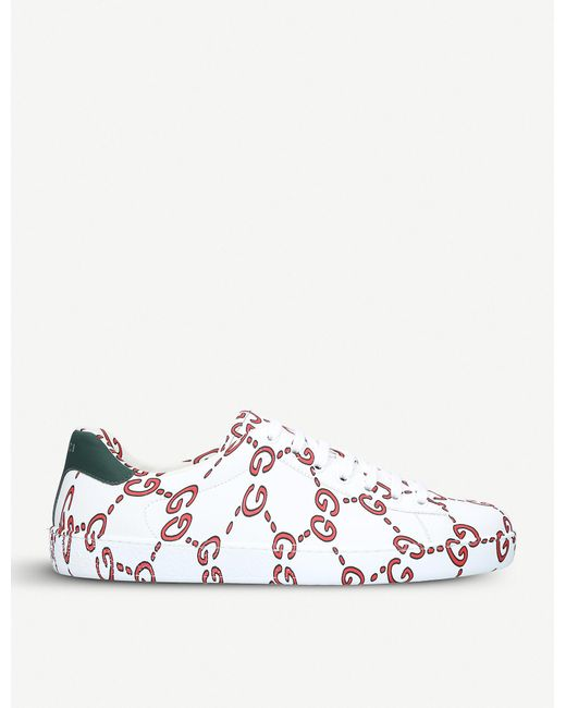 35377ebf3 Gucci New Ace Leather Trainers in White for Men - Lyst