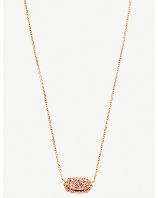 Kendra Scott - Metallic Elisa 14ct Rose Gold-plated And Rose Gold Drusy Necklace - Lyst