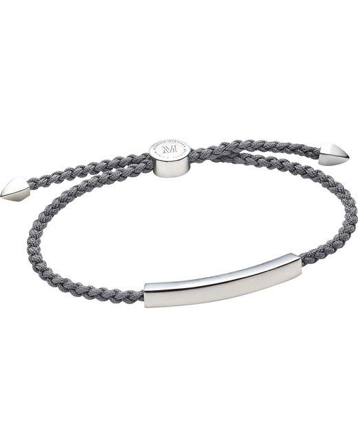 Monica Vinader - Black Linear Sterling Silver Friendship Bracelet - Lyst