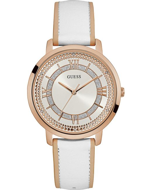 Guess - Metallic W0934l1 Montauk Rose Gold Plated Stainless Steel And Leather Watch - Lyst