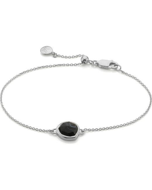 Monica Vinader | Metallic Siren Sterling Silver And Black Line Onyx Fine Chain Bracelet | Lyst