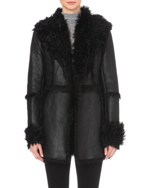French Connection | Black Toscana Sheepskin Coat | Lyst