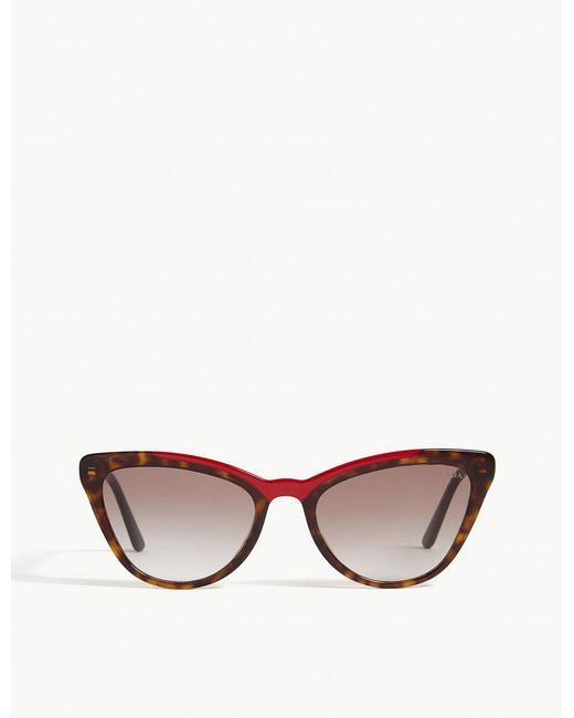 Prada - Brown Pr01v Cat-eye-frame Sunglasses - Lyst