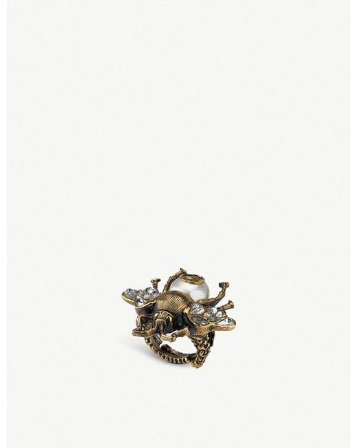 Gucci - Metallic Bee Crystal And Pearl Embellished Ring - Lyst