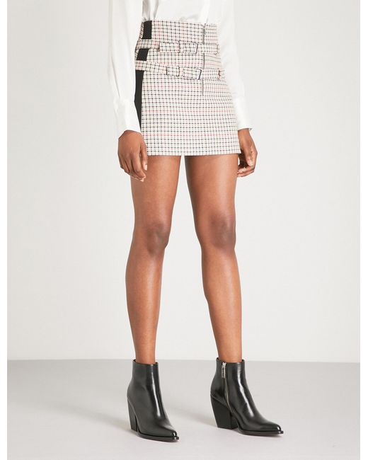 Maje - White Ioldi Buckled Checked Woven Mini Skirt - Lyst
