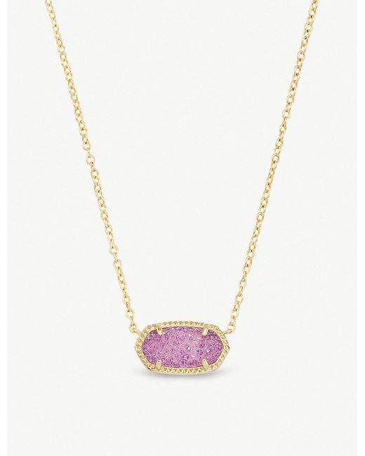 Kendra Scott - Purple Elisa 14ct Gold-plated And Violet Drusy Pendant Necklace - Lyst