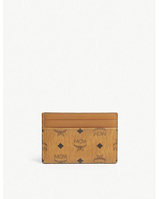 MCM - Brown Visetos Coated Canvas Card Holder - Lyst