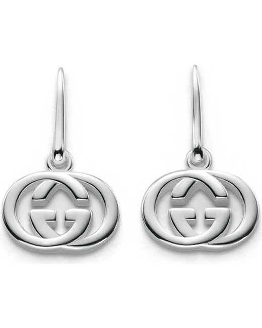 Gucci | Metallic Gg 18ct Silver Drop Earrings | Lyst