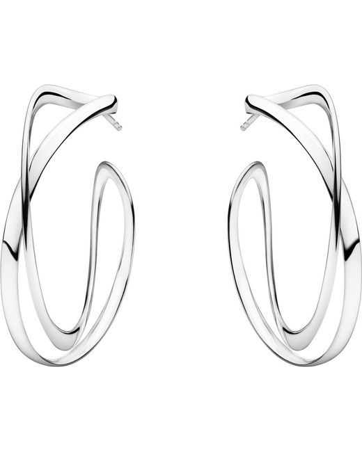 Georg Jensen - Black Infinity Sterling Silver Earrings - Lyst