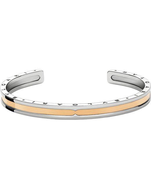 BVLGARI - Metallic B.zero1 Steel And 18kt Pink-gold Bracelet Cuff - Lyst