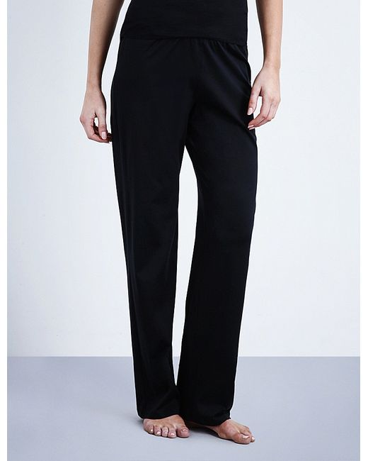 Hanro | Black Deluxe Cotton-jersey Pyjama Bottoms | Lyst