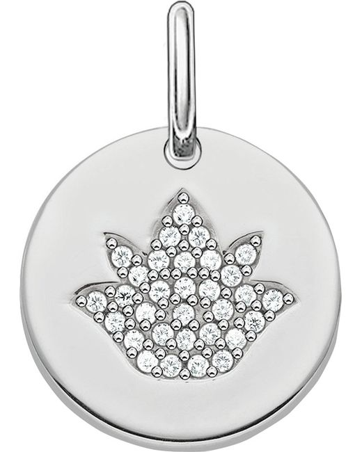 Thomas Sabo | Metallic Love Coin Sterling Silver Engravable Lotus Pendant | Lyst