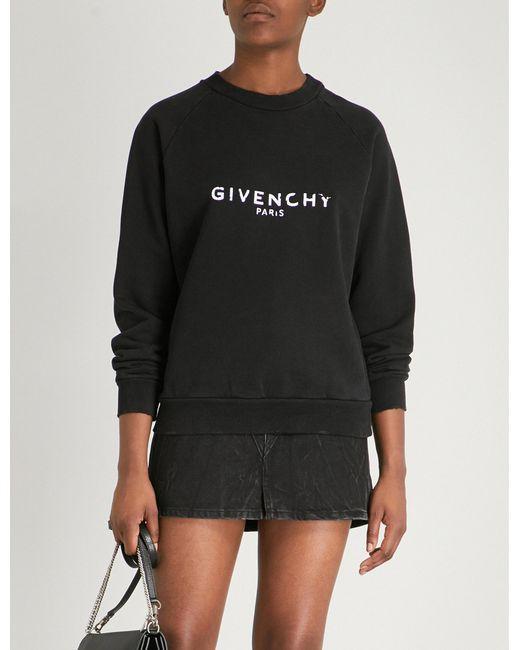 Givenchy - Black Logo-print Cotton-jersey Sweatshirt - Lyst