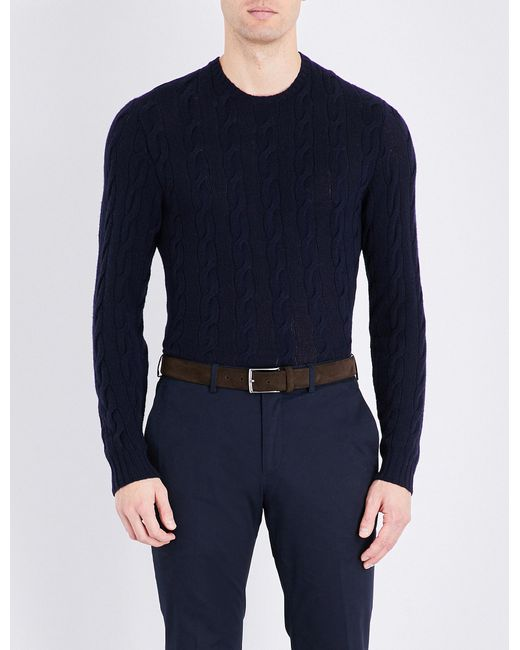 Ralph Lauren Purple Label - Blue Cable-knit Pure Cashemere Jumper for Men - Lyst